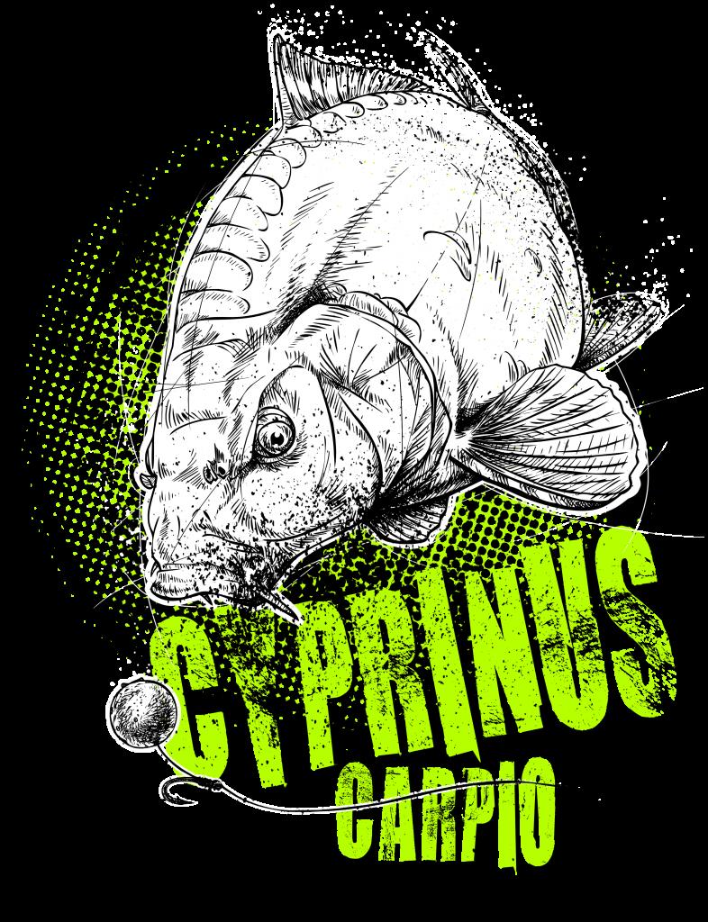 Angler-T-Shirt mit Karpfen-Motiv