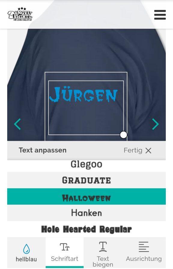 Anleitung für Angler T-Shirt mit eigenem Namen